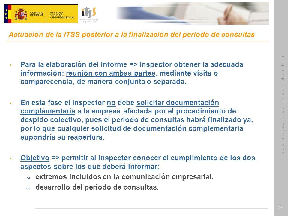 Actuación de la ITSS posterior a la finalización del periodo de consultas