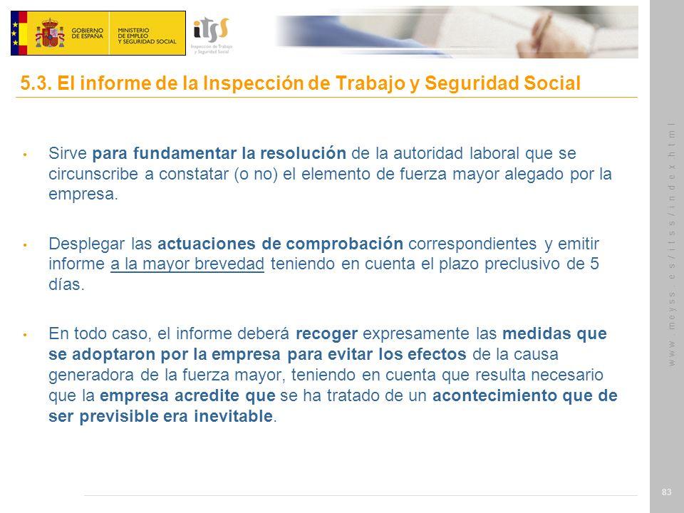 5.3. El informe de la Inspección de Trabajo y Seguridad Social
