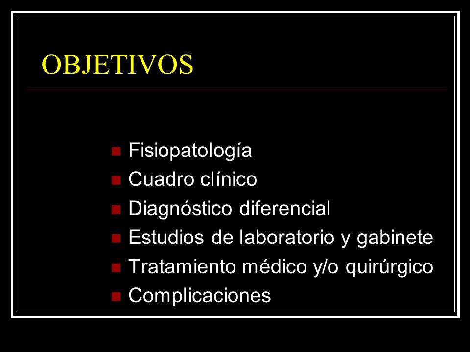 OBJETIVOS Fisiopatología Cuadro clínico Diagnóstico diferencial