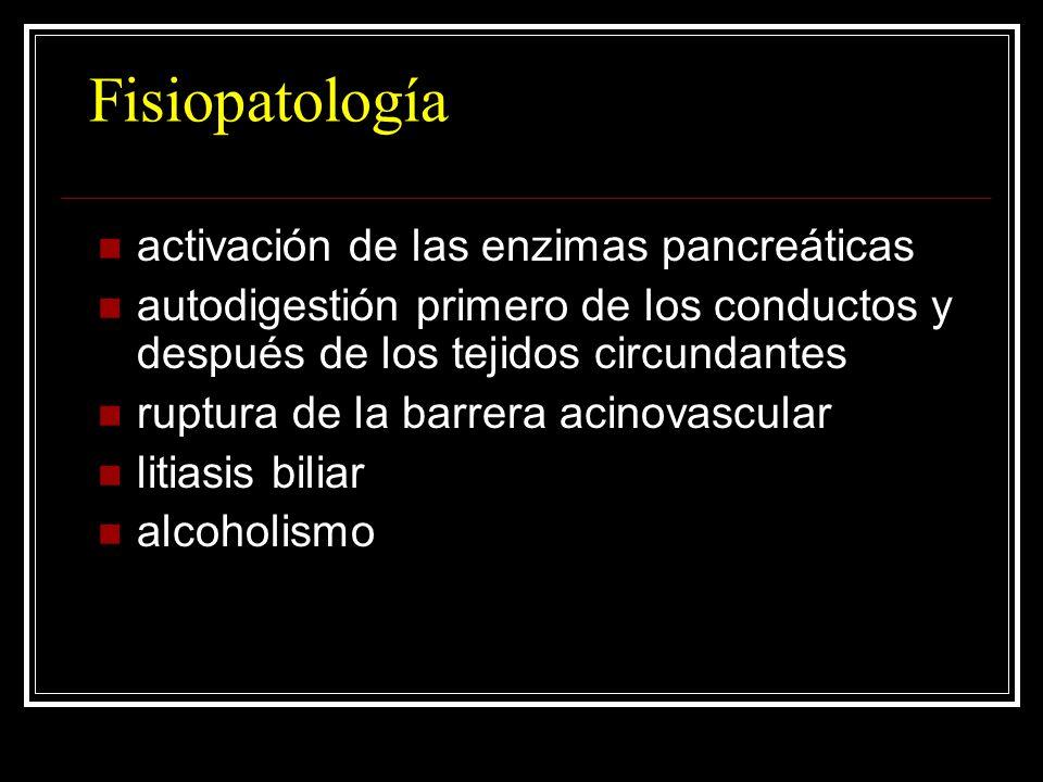 Fisiopatología activación de las enzimas pancreáticas