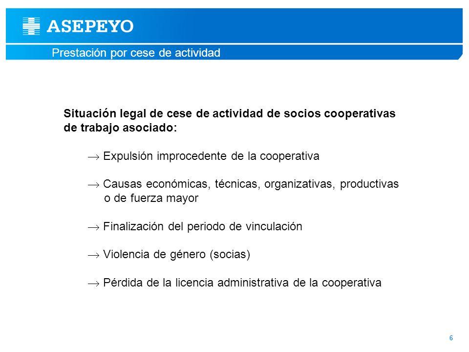 Situación legal de cese de actividad de socios cooperativas
