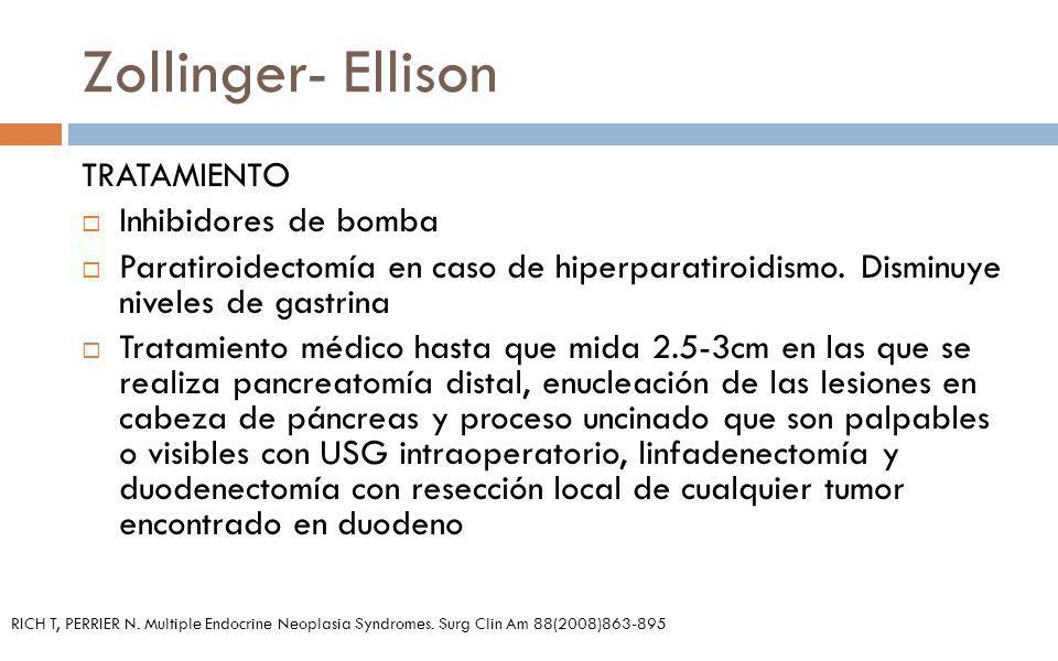 Zollinger- Ellison TRATAMIENTO Inhibidores de bomba