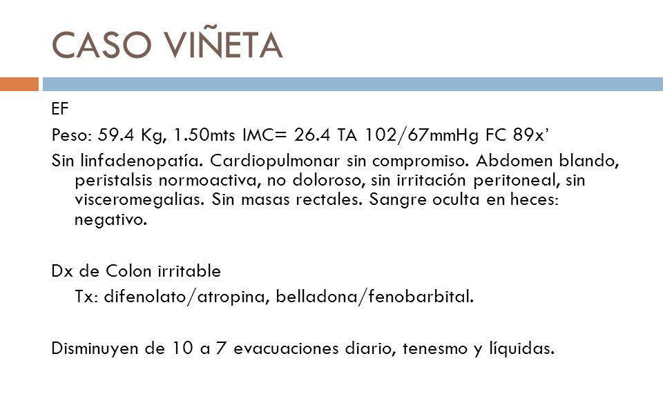 CASO VIÑETA EF Peso: 59.4 Kg, 1.50mts IMC= 26.4 TA 102/67mmHg FC 89x'