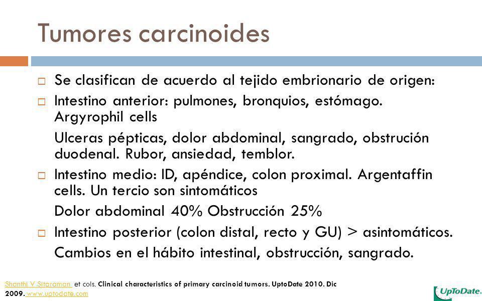 Tumores carcinoides Se clasifican de acuerdo al tejido embrionario de origen: Intestino anterior: pulmones, bronquios, estómago. Argyrophil cells.