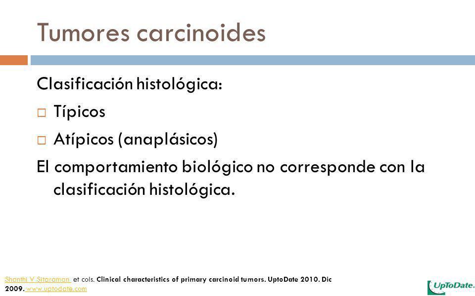 Tumores carcinoides Clasificación histológica: Típicos