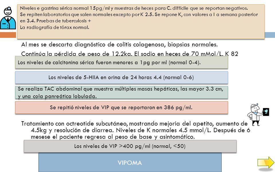 Niveles e gastrina sérica normal 15pg/ml y muestras de heces para C