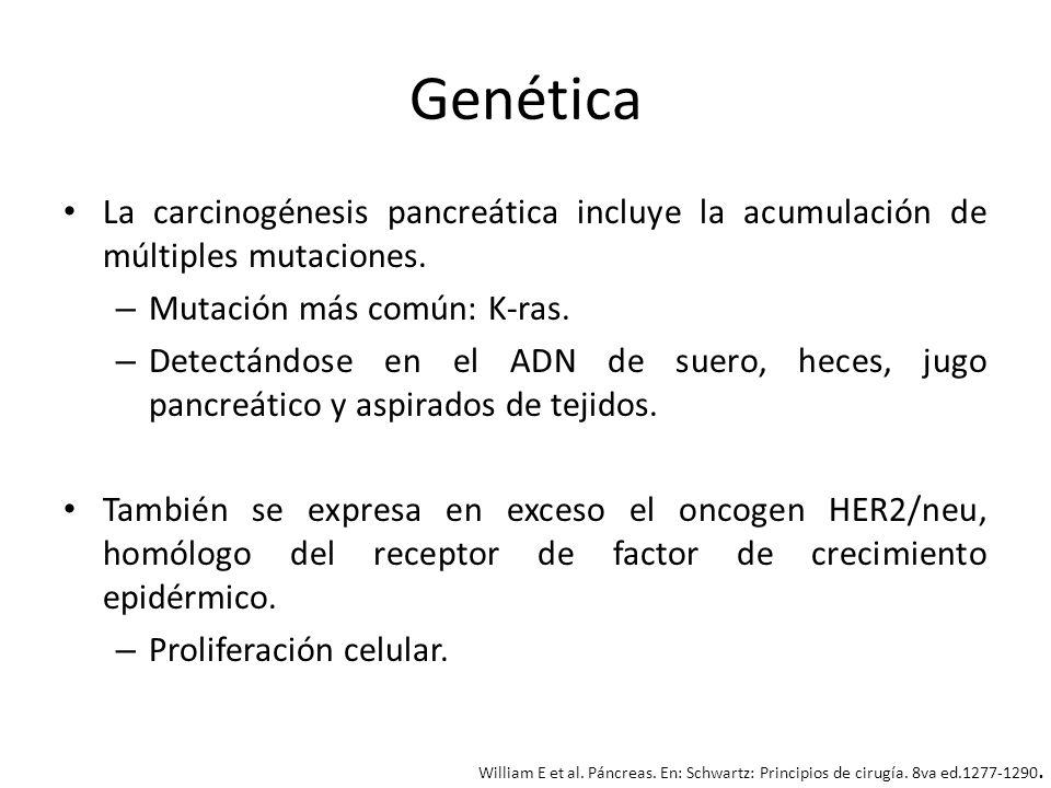 GenéticaLa carcinogénesis pancreática incluye la acumulación de múltiples mutaciones. Mutación más común: K-ras.