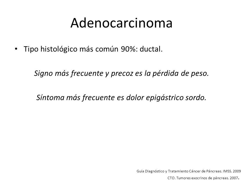 Adenocarcinoma Tipo histológico más común 90%: ductal.