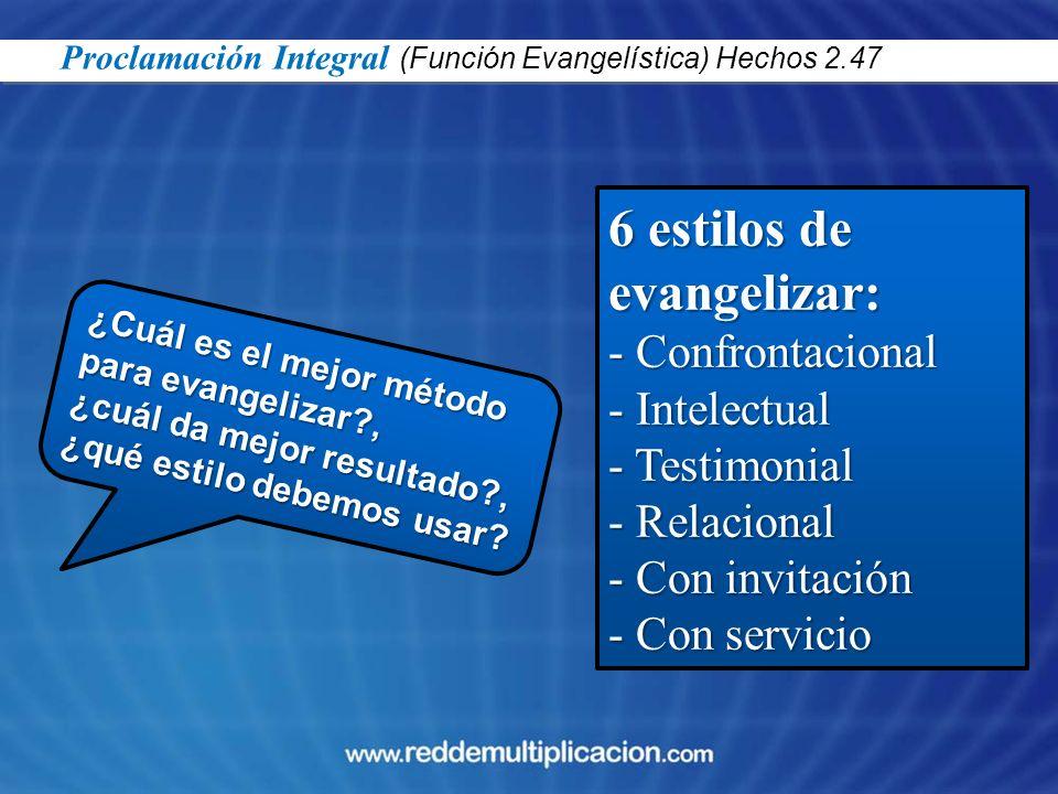 6 estilos de evangelizar: Confrontacional Intelectual Testimonial