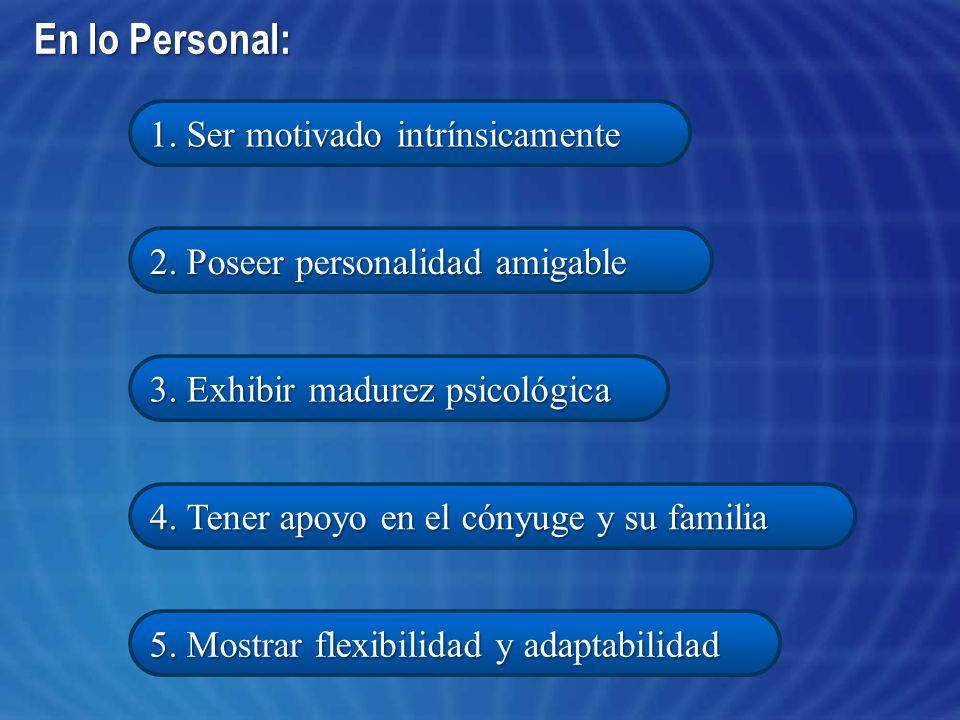 En lo Personal: 1. Ser motivado intrínsicamente