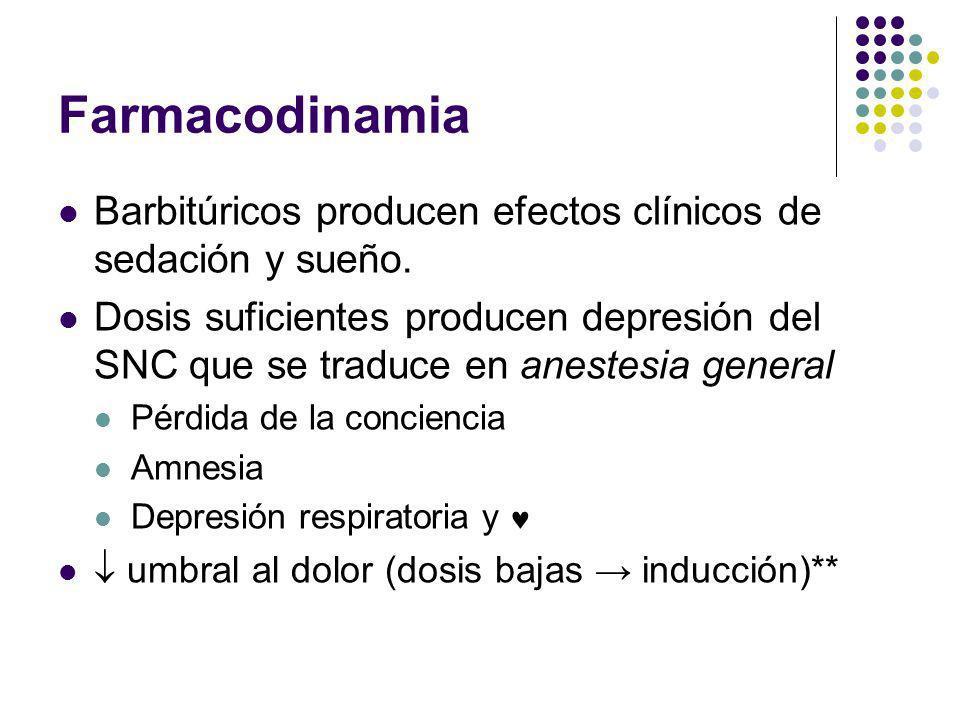 Farmacodinamia Barbitúricos producen efectos clínicos de sedación y sueño.