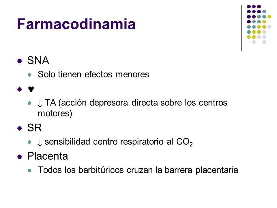 Farmacodinamia SNA  SR Placenta Solo tienen efectos menores
