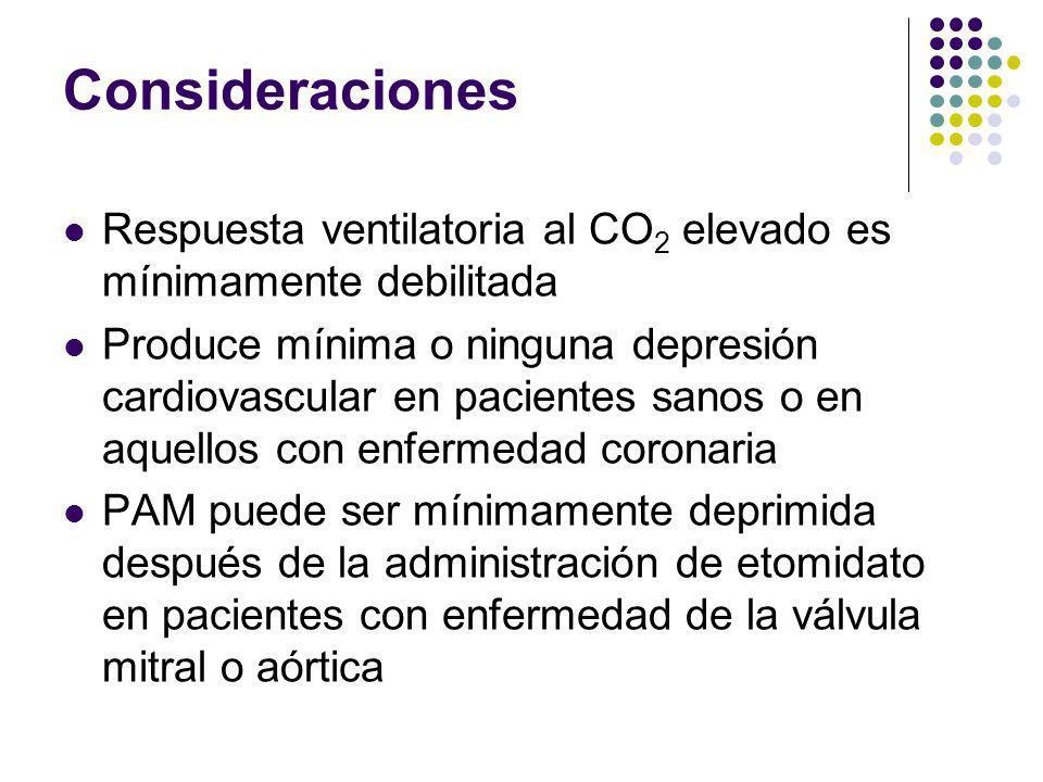 Consideraciones Respuesta ventilatoria al CO2 elevado es mínimamente debilitada.