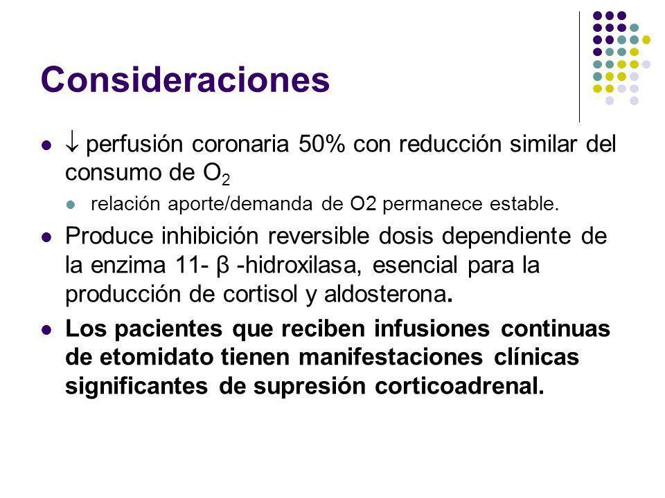 Consideraciones  perfusión coronaria 50% con reducción similar del consumo de O2. relación aporte/demanda de O2 permanece estable.
