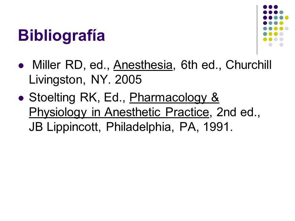 Bibliografía Miller RD, ed., Anesthesia, 6th ed., Churchill Livingston, NY. 2005.