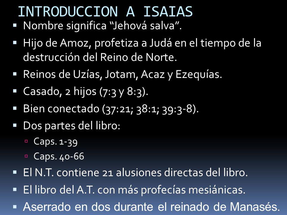INTRODUCCION A ISAIAS Nombre significa Jehová salva .