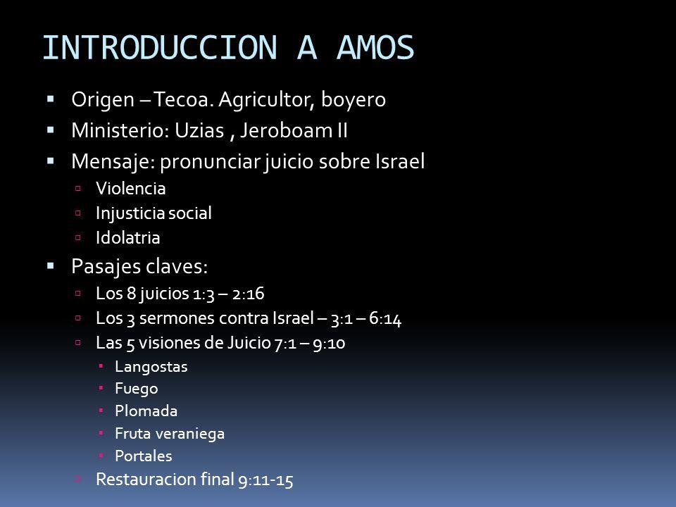 INTRODUCCION A AMOS Origen – Tecoa. Agricultor, boyero