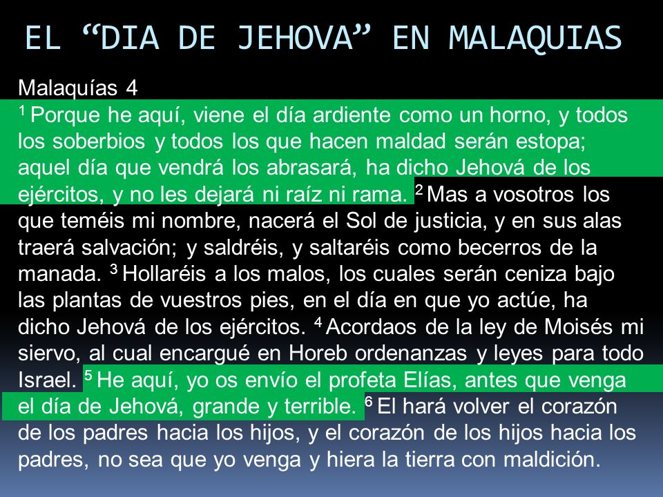 EL DIA DE JEHOVA EN MALAQUIAS