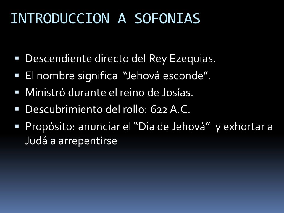 INTRODUCCION A SOFONIAS