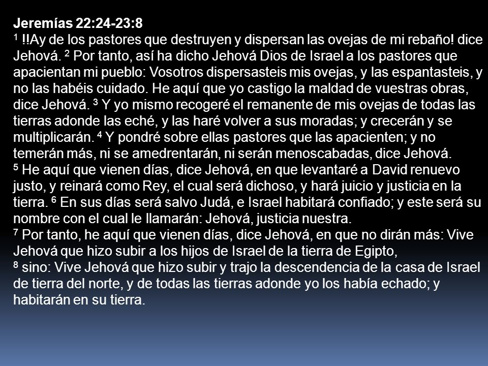 Jeremías 22:24-23:8