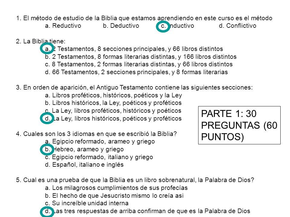 PARTE 1: 30 PREGUNTAS (60 PUNTOS)