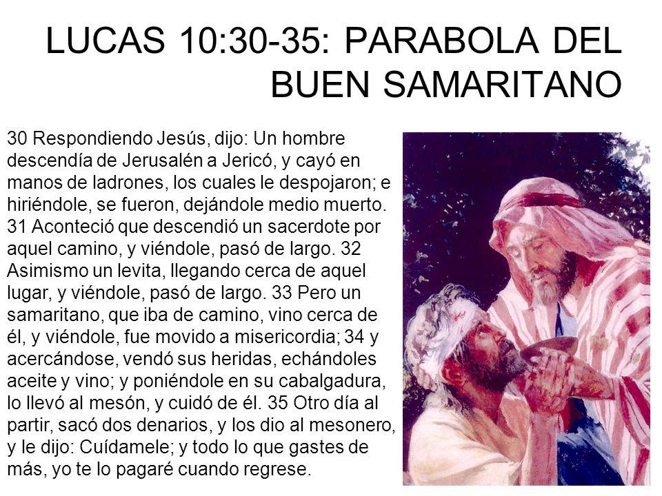 LUCAS 10:30-35: PARABOLA DEL BUEN SAMARITANO