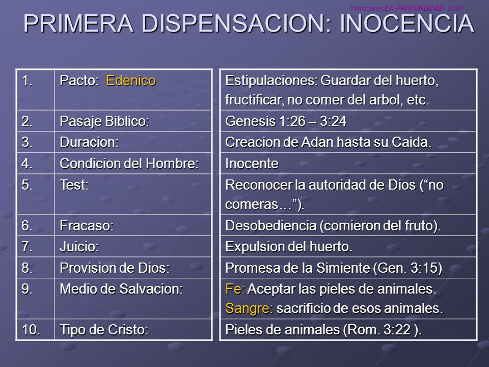 PRIMERA DISPENSACION: INOCENCIA
