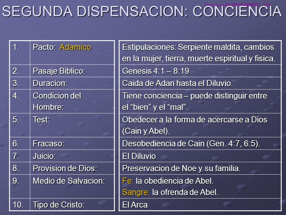 SEGUNDA DISPENSACION: CONCIENCIA