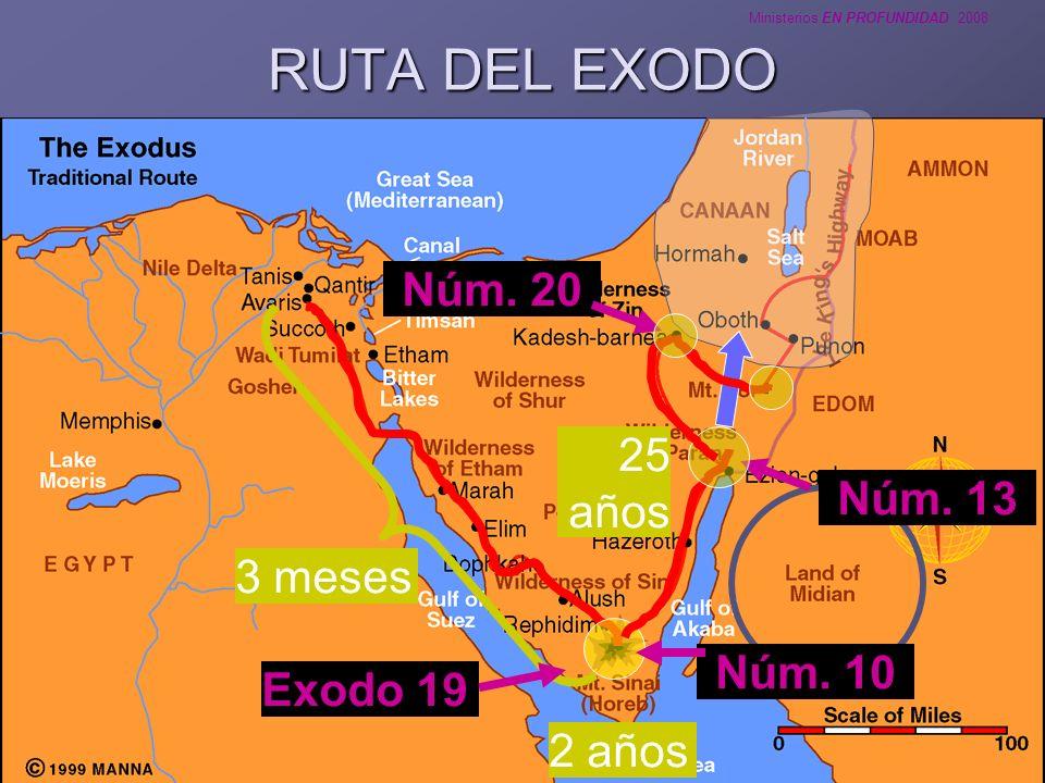 RUTA DEL EXODO Núm. 20 25 años Núm. 13 3 meses Núm. 10 Exodo 19 2 años