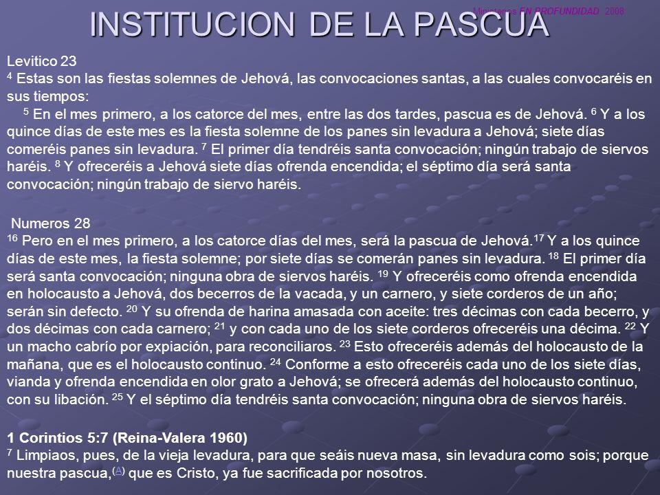 INSTITUCION DE LA PASCUA
