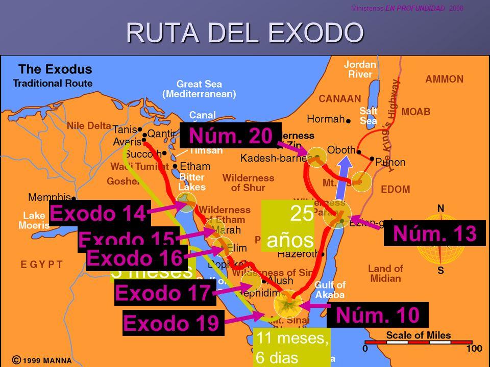 RUTA DEL EXODO Núm. 20 Exodo 14 25 años Exodo 15 Núm. 13 Exodo 16