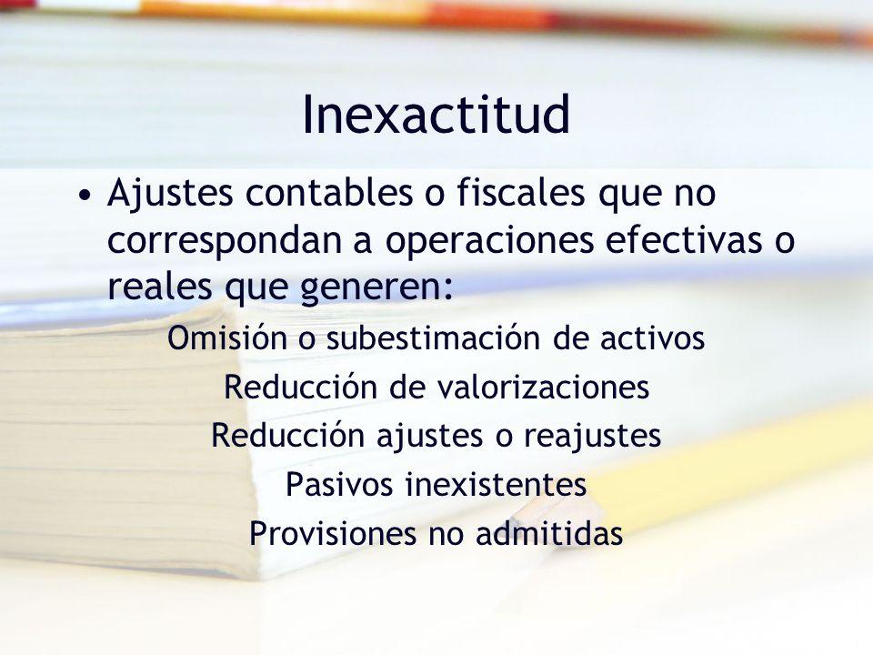 Inexactitud Ajustes contables o fiscales que no correspondan a operaciones efectivas o reales que generen: