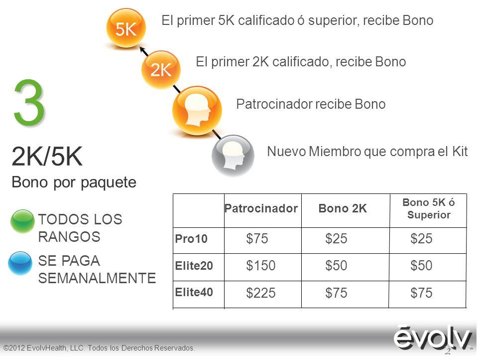 3 2K/5K Bono por paquete TODOS LOS RANGOS SE PAGA SEMANALMENTE