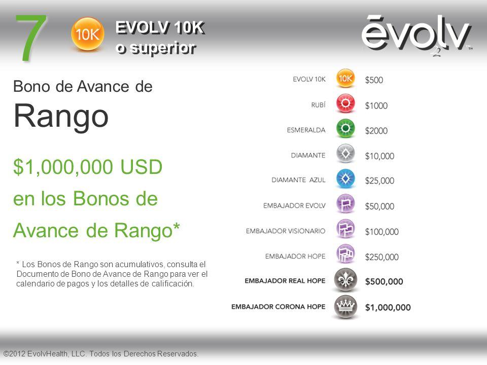 7 Rango $1,000,000 USD en los Bonos de Avance de Rango*
