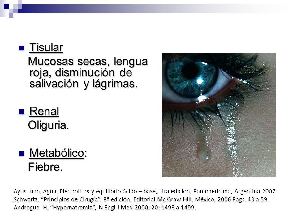 Mucosas secas, lengua roja, disminución de salivación y lágrimas.