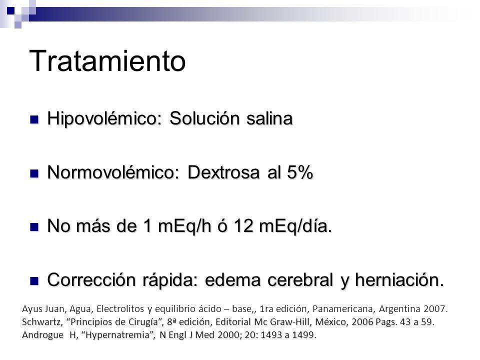 Tratamiento Hipovolémico: Solución salina