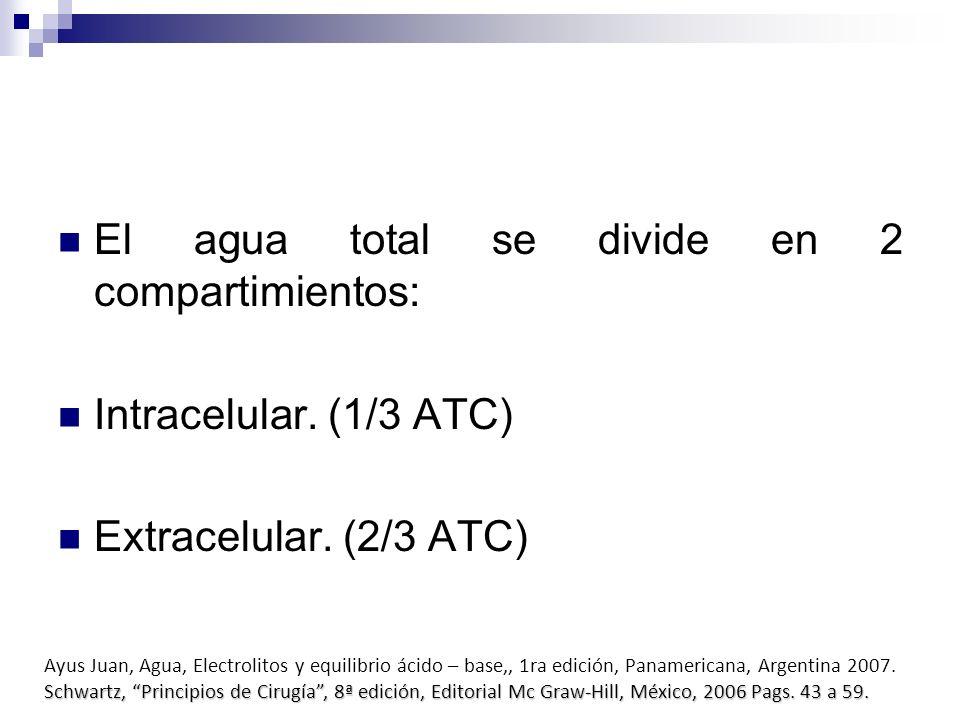 El agua total se divide en 2 compartimientos: