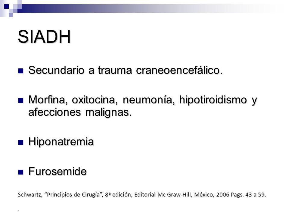 SIADH Secundario a trauma craneoencefálico.