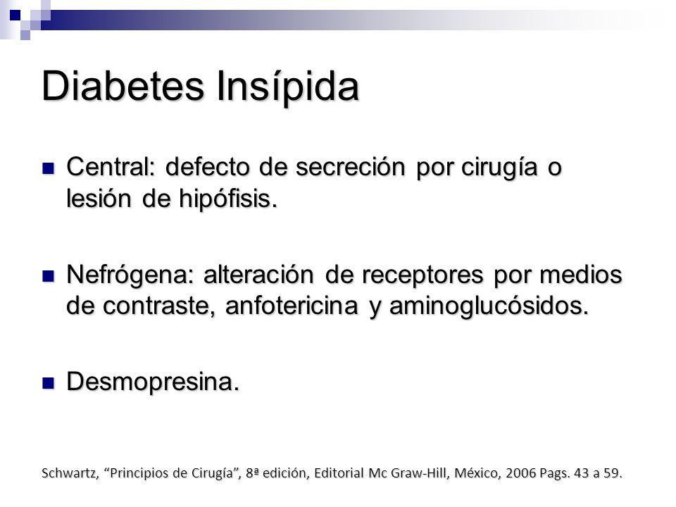 Diabetes Insípida Central: defecto de secreción por cirugía o lesión de hipófisis.
