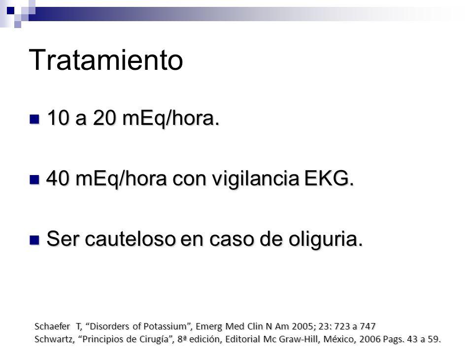 Tratamiento 10 a 20 mEq/hora. 40 mEq/hora con vigilancia EKG.