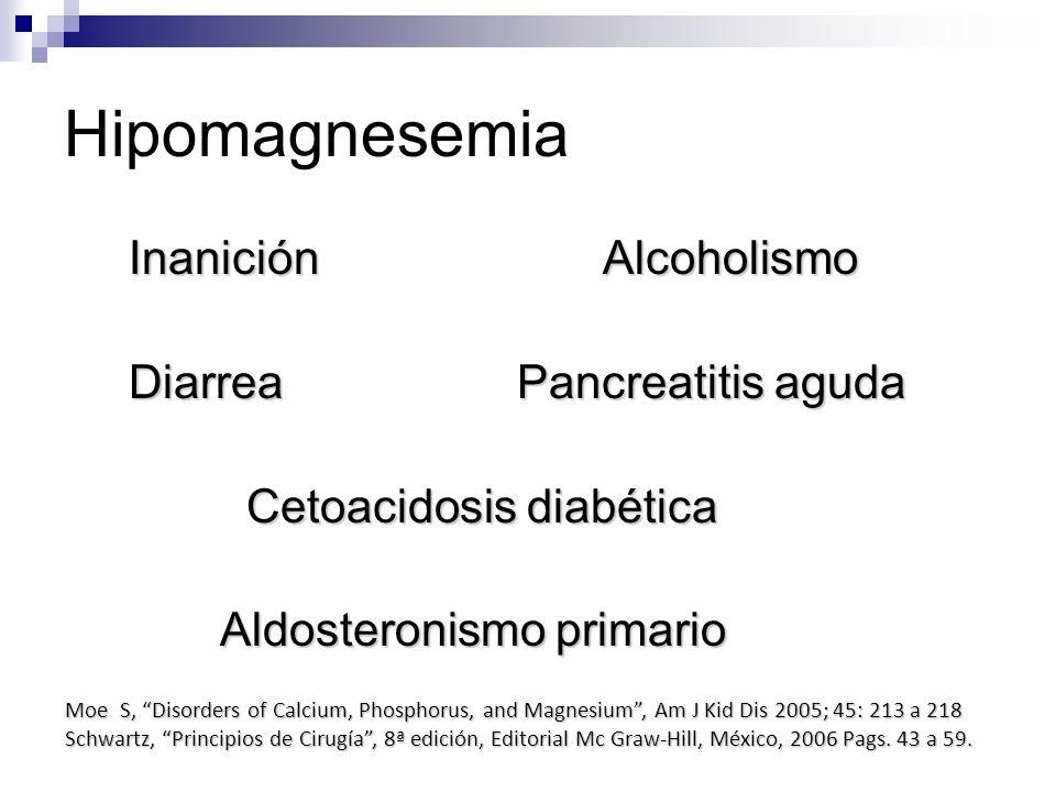 Hipomagnesemia Inanición Alcoholismo Diarrea Pancreatitis aguda