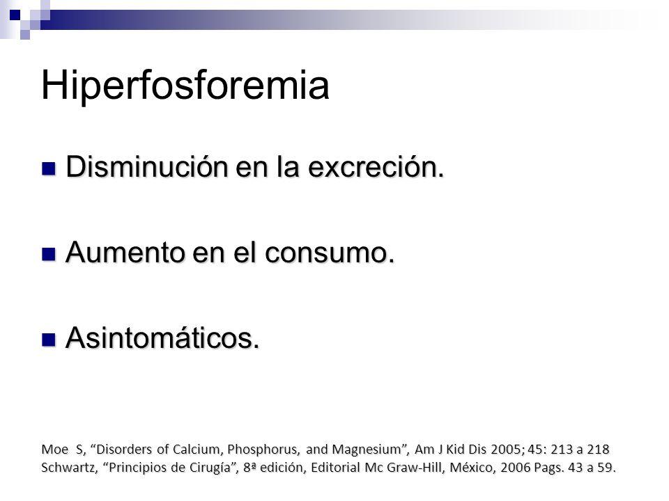 Hiperfosforemia Disminución en la excreción. Aumento en el consumo.