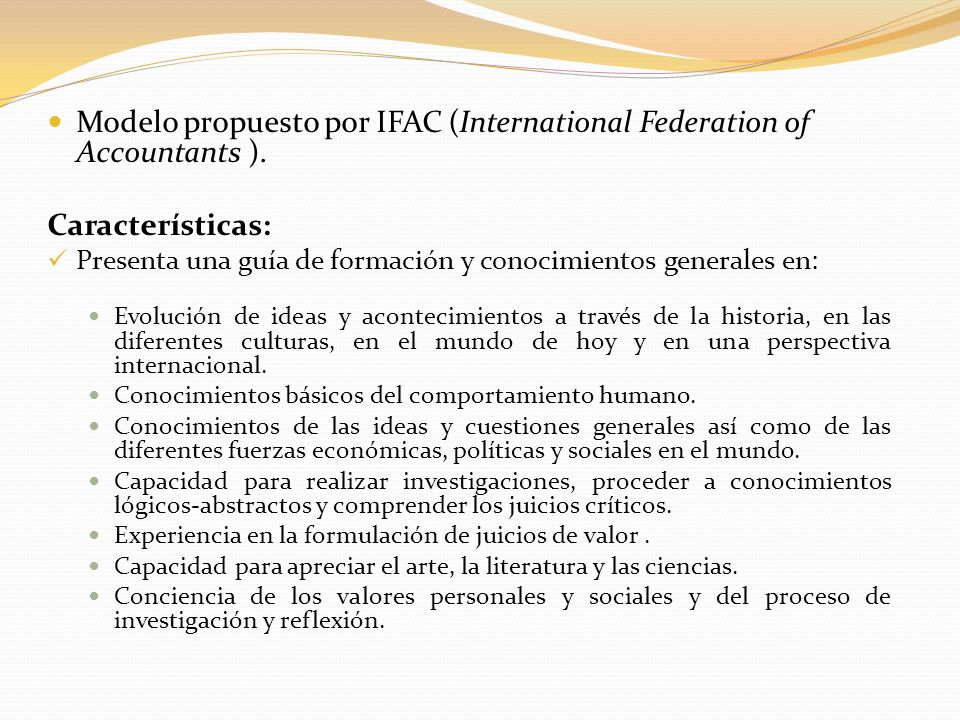Modelo propuesto por IFAC (International Federation of Accountants ).