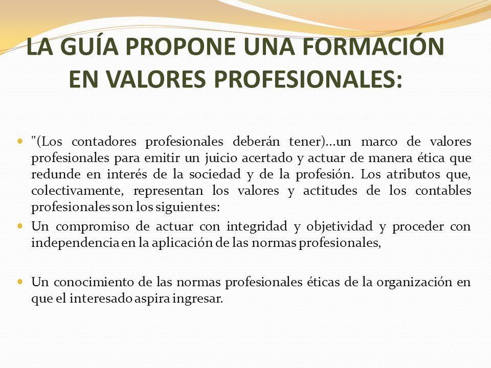 LA GUÍA PROPONE UNA FORMACIÓN EN VALORES PROFESIONALES: