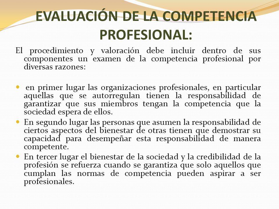 EVALUACIÓN DE LA COMPETENCIA PROFESIONAL:
