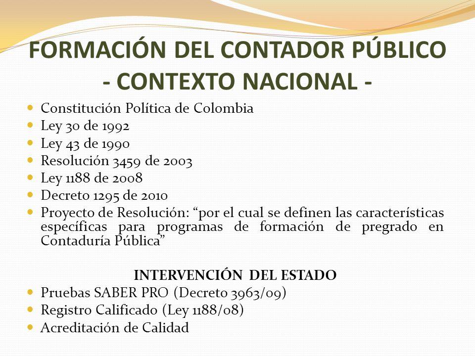 FORMACIÓN DEL CONTADOR PÚBLICO - CONTEXTO NACIONAL -