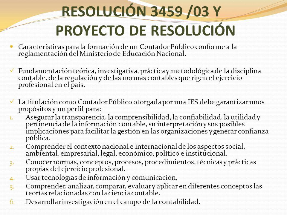 RESOLUCIÓN 3459 /03 Y PROYECTO DE RESOLUCIÓN