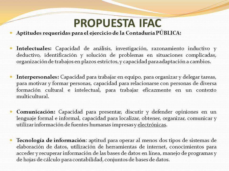 PROPUESTA IFAC Aptitudes requeridas para el ejercicio de la Contaduría PÚBLICA: