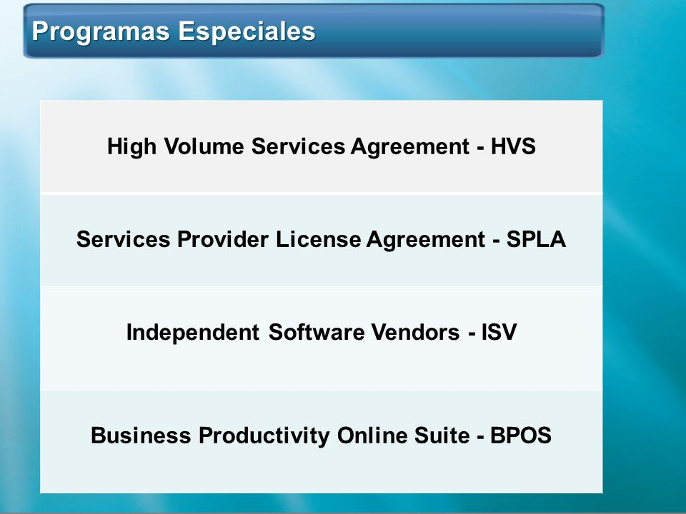 Programas Especiales High Volume Services Agreement - HVS