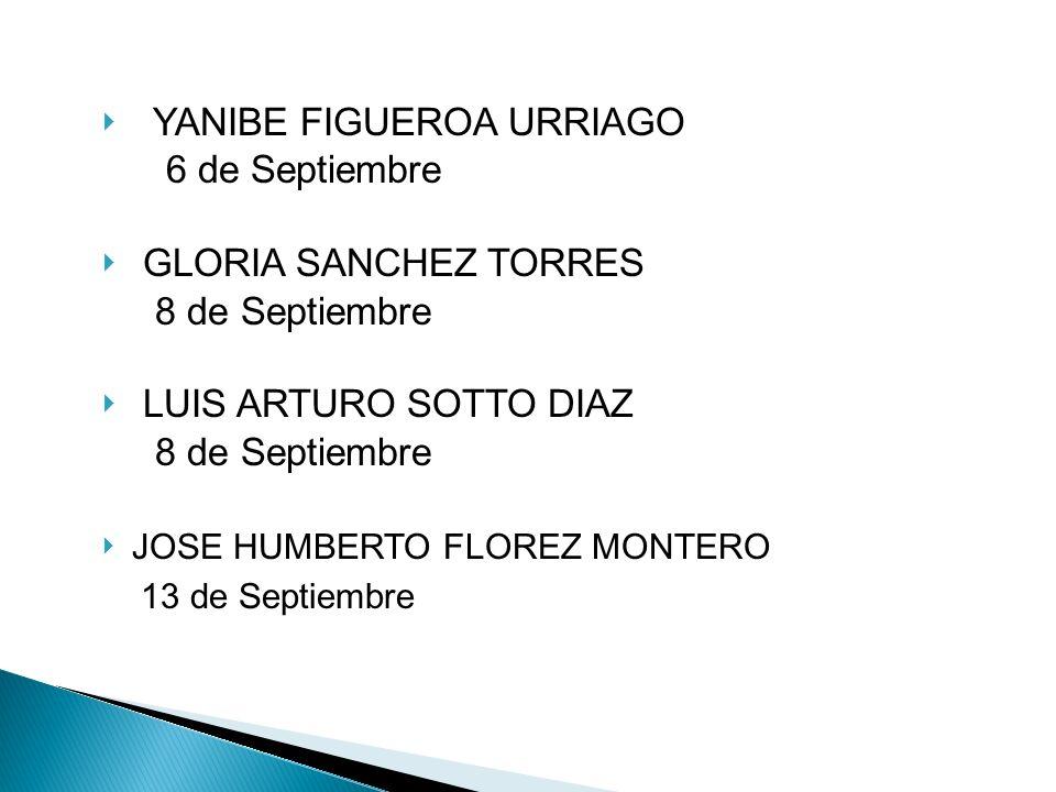 YANIBE FIGUEROA URRIAGO 6 de Septiembre GLORIA SANCHEZ TORRES